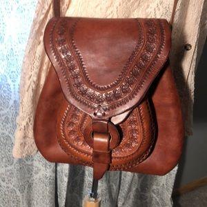 Vintage All Leather cross body boho bag